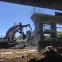 Pedestrian overpass demolition - April 28, 2021